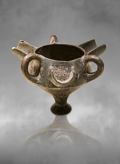 Bronze Age Anatolian terra cotta vessel with strainer - 19th to 17th century BC - Kültepe Kanesh - Museum of Anatolian Civilisations, Ankara, Turkey.
