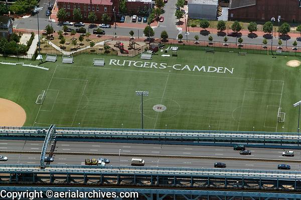 aerial photograph of Rutgers University, Camden soccer field,  Camden, New Jersey