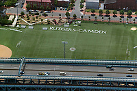aerial photograph of Rutgers University, Camden soccer field,  Camden, New Jersey