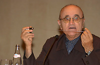Serge Losique, President World Film Festival<br /> explain the new Telefilm Canada'rule of  20 % content at Festivals, to  the medias during a  press conference, august 12,  2003  in Montreal, CANADA.<br /> <br />  File Photo Agence Quebec Presse - Pierre Roussel