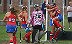 Team mates # 19 Brianna Roskey  (left) and # 6 Allison Stuppi (right) of Ocean Township High School  celebrate the game winning overtime goal as Ocean Township High School takes on Wall Township High School in a girls varsity field hockey game held in Wall Township on Wednesday October 11, 2017.<br /> <br /> (Mark R. Sullivan | For NJ Advance Media)