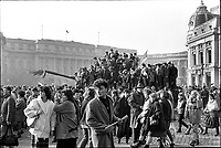 ROMANIA, Pta. Palatului, today Pta. Revolutiei, Bucharest, 22.12.1989<br /> People rise against Ceausescu. After the Ceausescu couple has fled by helicopter around noon, protestors fill the square which originally was guarded by tanks. They aim at the Communist Party Central Committee building.<br /> © Andrei Pandele / EST&OST
