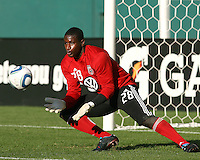 Bill Hamid #28 of D.C.United made his debut during an MLS match against the Kansas City Wizards at RFK Stadium on May 5 2010, in Washington DC. United won 2-1