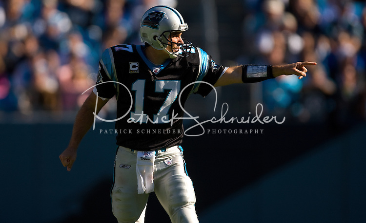 Carolina Panthers quarterback Jake Delhomme (17) lines up as a wide receiver against the Arizona Cardinals during an NFL football game at Bank of America Stadium in Charlotte, NC.