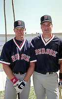 Boston Red Sox Greg Blosser (47) and Bob Zupcic (28) during Spring Training 1993 at City of Palms Park in Fort Myers, Florida.  (MJA/Four Seam Images)