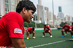 Teams warm up prior to USA vs Tonga during the Day 3 of the IRB Junior World Rugby Trophy 2014 at the Hong Kong Football Club on April 11, 2014 in Hong Kong, China. Photo by Aitor Alcalde / Power Sport Images