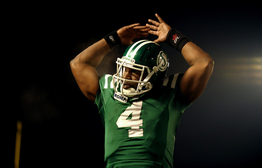 Saskatchewan Roughriders quarterback Darian Durant celebrates a fourth quarter touchdown to slotback Weston Dressler to put the Riders ahead during CFL Western Division semifinal action in Regina Sunday, November 14, 2010. THE CANADIAN PRESS/Mark Taylor.