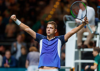 Rotterdam, The Netherlands, 14 Februari 2020, ABNAMRO World Tennis Tournament, Ahoy, <br /> Filip Krajinovic (SRB) celebrates his win over Rublev (RUS)<br /> Photo: www.tennisimages.com