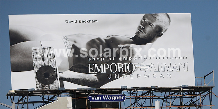 **ALL ROUND PICTURES FROM SOLARPIX.COM**.**WORLDWIDE SYNDICATION RIGHTS EXCEPT FOR USA, AUSTRALIA & GERMANY**.David Beckham in his ad campaign for his underwear for Armani is shown on a big billboard on Sunset and Roxbury in West Hollywood, CA, USA. 25th August 2008..JOB REF: 7115 LAS       DATE: 25_08_2008.**MUST CREDIT SOLARPIX.COM OR DOUBLE FEE WILL BE CHARGED* *UNDER NO CIRCUMSTANCES IS THIS IMAGE TO BE REPRODUCED FOR ANY ONLINE EDITION WITHOUT PRIOR PERMISSION*