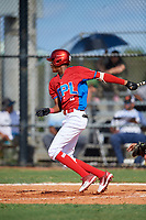 Francisco Nina (2) during the Dominican Prospect League Elite Florida Event at Pompano Beach Baseball Park on October 14, 2019 in Pompano beach, Florida.  (Mike Janes/Four Seam Images)
