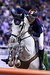 OMAHA, NEBRASKA - MAR 31: Martin Fuchs rides Clooney during the FEI World Cup Jumping Final I at the CenturyLink Center on March 31, 2017 in Omaha, Nebraska. (Photo by Taylor Pence/Eclipse Sportswire/Getty Images)