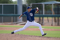 San Diego Padres pitcher Martin Carrasco (91) delivers a pitch to the plate during an Instructional League game against the Chicago White Sox on September 26, 2017 at Camelback Ranch in Glendale, Arizona. (Zachary Lucy/Four Seam Images)