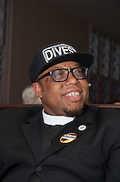 Rev. Lennox Yearwood,President/CEO the Hip Hop Caucus, Washington DC at launch of Harvard Heat Week calling on Harvard University to divest from Fossil Fuels at First Parish Church Cambridge MA 4.12.15