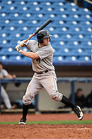 Dayton Dragons third baseman Tanner Rahier (9) at bat during a game against the Lake County Captains on June 8, 2014 at Classic Park in Eastlake, Ohio.  Lake County defeated Dayton 4-2.  (Mike Janes/Four Seam Images)