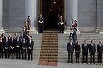 await the arrival of the coffin before the funeral chapel in honor of Prime Minister Adolfo Suarez in the Congress of Deputies in Madrid, Spain. March 24, 2014. (ALTERPHOTOS/Caro Marin)