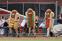 Hot Dog race during game between the Connecticut Tigers and Brooklyn Cyclones at MCU Park on August 03, 2012 in Brooklyn, NY.  Brooklyn defeated Connecticut 3-0.  Tomasso DeRosa/Four Seam Images