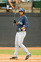 Jose Rivero #58 of the Pulaski Mariners at bat against the Bristol White Sox at Boyce Cox Field August 28, 2010, in Bristol, Tennessee.  Photo by Brian Westerholt / Four Seam Images