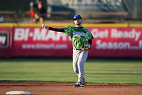 Eugene Emeralds second baseman Levi Jordan (20) throws to first base during a Northwest League game against the Salem-Keizer Volcanoes at Volcanoes Stadium on August 31, 2018 in Keizer, Oregon. The Eugene Emeralds defeated the Salem-Keizer Volcanoes by a score of 7-3. (Zachary Lucy/Four Seam Images)