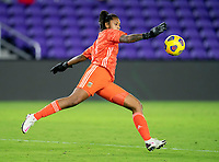 ORLANDO, FL - FEBRUARY 24: Solana Pereyra #1 of Argentina punts the ball during a game between Argentina and USWNT at Exploria Stadium on February 24, 2021 in Orlando, Florida.