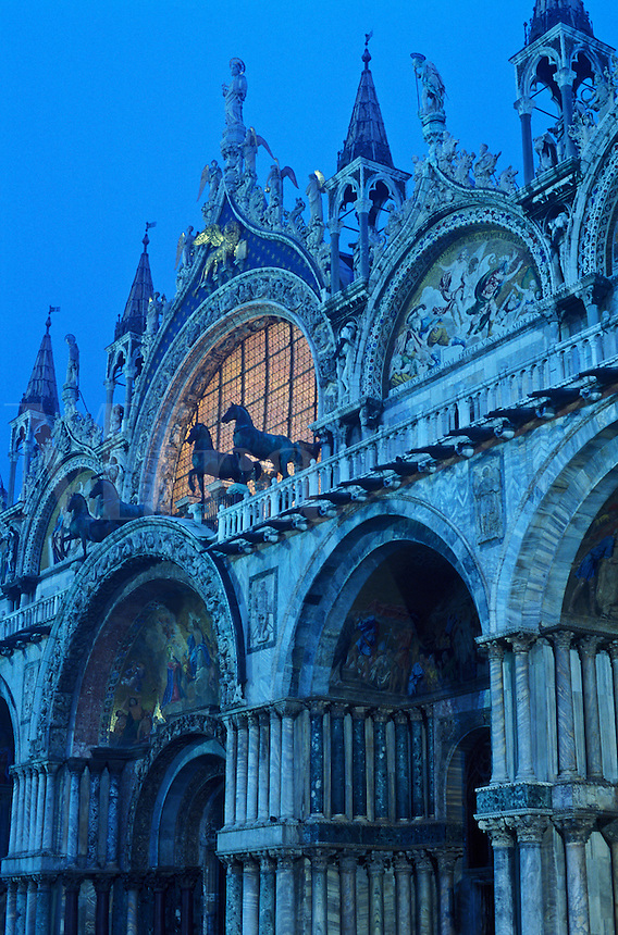 Italy, Venice, facade of Basilica San Marco at illuminated at  dawn. Piazza San Marco