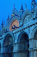 Italy, Venice, facade of Basilica San Marco at illuminated at  dawn. Piazza San Marco