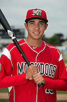 Batavia Muckdogs infielder Hiram Martinez (15) poses for a photo during media day on June 10, 2014 at Dwyer Stadium in Batavia, New York.  (Mike Janes/Four Seam Images)
