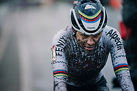 cx world champion Ceylin del Carmen Alvarado (NED/Alpecin-Fenix) crossing the finish line<br /> <br /> UCI cyclo-cross World Cup Dendermonde 2020 (BEL)<br /> Women's Race<br /> <br /> ©kramon