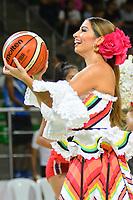 BARRANQUILLA - COLOMBIA. 16-11-2019: Isabella Chams, reina del Carnaval de Barranquilla 2020, invitada de honor durante partido por la semifinal entre Titanes de Barranquilla y Warriors de San Andrés como parte de la Liga Profesional de Baloncesto de Colombia 2019 realizado en el Coliseo Elías Chewing Barranquilla, Colombia. / Isabella XChams, queen of the Barranquilla Carnival 2020, honor guest during semifinal match between Titanes de Barranquilla and Warriors de San Andres as part of Professional Basketball League of Colombia 2019 played at Elias Chewing coliseum in Barranquilla, Colombia. Photo: VizzorImage / Alfonso Cervantes / Cont