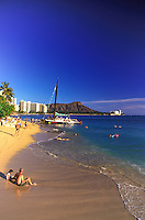 Scenic Diamond Head Crater and Beautiful Waikiki Beach.