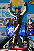 NASCAR Camping World Truck Series<br /> North Carolina Education Lottery 200<br /> Charlotte Motor Speedway, Concord, NC USA<br /> Friday 19 May 2017<br /> Kyle Busch, Cessna Toyota Tundra celebrates his win with a burnout<br /> World Copyright: Nigel Kinrade<br /> LAT Images<br /> ref: Digital Image 17CLT1nk05374