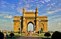 India. Bombay/Mumbai.  The Gateway of India.  Mumbai landmark, a reminder of the British colonial period, built in 1911 to commemorate the visit of King George V and Queen Mary to the city.  It stands on the Chatrapati Shivaji Marg.