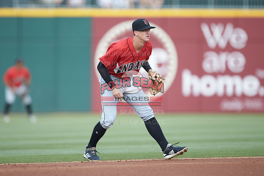 Indianapolis Indians shortstop Kevin Newman (3) on defense against the Charlotte Knights at BB&T BallPark on May 26, 2018 in Charlotte, North Carolina. The Indians defeated the Knights 6-2.  (Brian Westerholt/Four Seam Images)