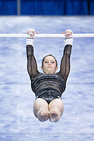 LOS ANGELES, CA - April 19, 2013:  Stanford's Kristina Vaculik competes on bars during the NCAA Championships at UCLA.
