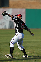 Tyler Smith (27) of the High Desert Mavericks warms up before pitching during a game against the Inland Empire 66ers at Mavericks Stadium on May 6, 2015 in Adelanto, California. Inland Empire defeated High Desert, 10-4. (Larry Goren/Four Seam Images)
