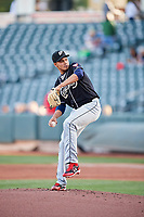 El Paso Chihuahuas starting pitcher Dinelson Lamet (24) throws to the plate against the Salt Lake Bees in Pacific Coast League action at Smith's Ballpark on May 1, 2017 in Salt Lake City, Utah. Salt Lake defeated El Paso 9-4.  (Stephen Smith/Four Seam Images)