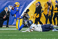 Pitt wide receiver Shocky Jacques-Louis (18) had this touchdown catch overruled. The Pitt Panthers defeated the North Carolina Tarheels 34-27 in overtime in the football game on November 14, 2019 at Heinz Field, Pittsburgh, Pennsylvania.