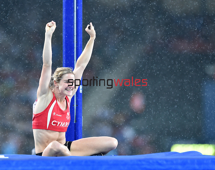 Wales' Sally Peake celebrates after making a successful jump in the women's pole vault competition.  Peake went on to claim the silver medal.<br /> <br /> Photographer Chris Vaughan/Sportingwales<br /> <br /> 20th Commonwealth Games - Day 10 - Saturday 2nd August 2014 - Athletics - Hampden Park - Glasgow - UK