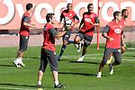 Atletico de Madrid's Antonio Lopez, Paulo Assuncao, Cleber Santana, Juanito and Sinama-Pongolle during training session. October 26 20079. (ALTERPHOTOS/Acero).