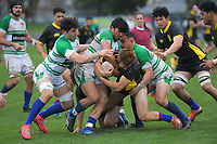 Ruben Love is tackled during the Mitre 10 Cup rugby preseason match between Manawatu Evergreens and Wellington Lions at Levin Domain in Levin, New Zealand on Saturday, 5 September 2020. Photo: Dave Lintott / lintottphoto.co.nz