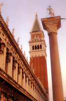 Italy,Venice,Piazzetta San Marco with column of St. Theodore, Biblioteca Marciana ( St. Mark's Library) and the  Campanile di San Marco