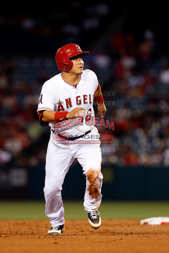 Hank Conger #16 of the Los Angeles Angels runs the bases during a game against the Baltimore Orioles at Angel Stadium on May 2, 2013 in Anaheim, California. Baltimore defeated Los Angeles 5-1. (Larry Goren/Four Seam Images)