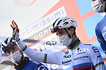 World Champion Julian Alaphilippe (FRA) Deceuninck-Quick Step at sign on before the start of the 112th edition of Milan-San Remo 2021, running 299km from Milan to San Remo, Italy. 20th March 2021. <br /> Photo: LaPresse/Fabio Ferrari | Cyclefile<br /> <br /> All photos usage must carry mandatory copyright credit (© Cyclefile | LaPresse/Fabio Ferrari)