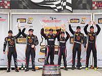 IMSA WeatherTech SportsCar Championship<br /> Sahlen's Six Hours of the Glen<br /> Watkins Glen International, Watkins Glen, NY USA<br /> Saturday 1 July 2017<br /> 77, McLaren, McLaren GT4, GS, Nico Rondet, Mathew Keegan 59, Ford, Ford Mustang, GS, Dean Martin, Jack Roush Jr 76, McLaren, McLaren GT4, GS, Matt Plumb, Paul Holton podium<br /> World Copyright: Michael L. Levitt/LAT Images