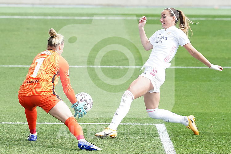 First official match and first classic in the history of women's Real Madrid.<br /> Real Madrid's Kosovare Asllani (r) and FC Barcelona's Sandra Panos during Spanish Female League match. October 4,2020. (ALTERPHOTOS/Acero)