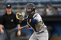 Staten Island Yankees catcher Luis Torrens (57) waits for a throw in a run down during a game against the Batavia Muckdogs on August 6, 2014 at Dwyer Stadium in Batavia, New York.  Batavia defeated Staten Island 5-3.  (Mike Janes/Four Seam Images)