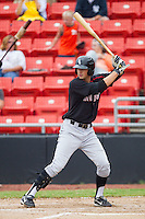 Ryan Hamme #18 of the Kannapolis Intimidators at bat against the Hickory Crawdads at  L.P. Frans Stadium August 1, 2010, in Hickory, North Carolina.  Photo by Brian Westerholt / Four Seam Images
