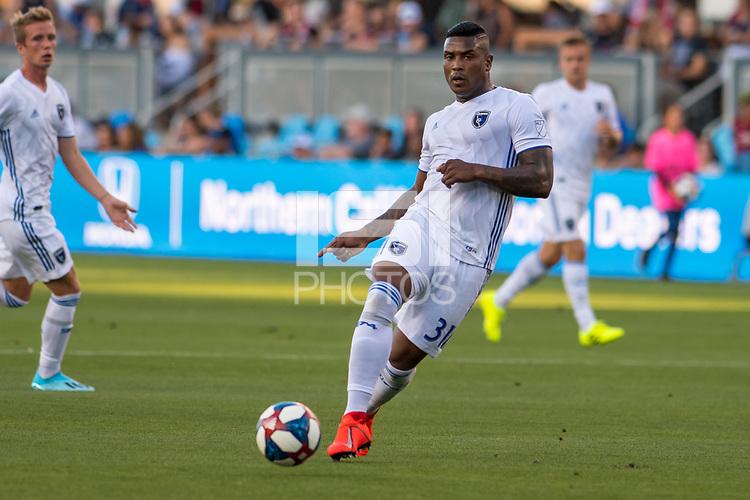 SAN JOSÉ CA - JULY 27: Harold Cummings #31 during a Major League Soccer (MLS) match between the San Jose Earthquakes and the Colorado Rapids on July 27, 2019 at Avaya Stadium in San José, California.