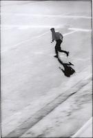 Man running across street<br />