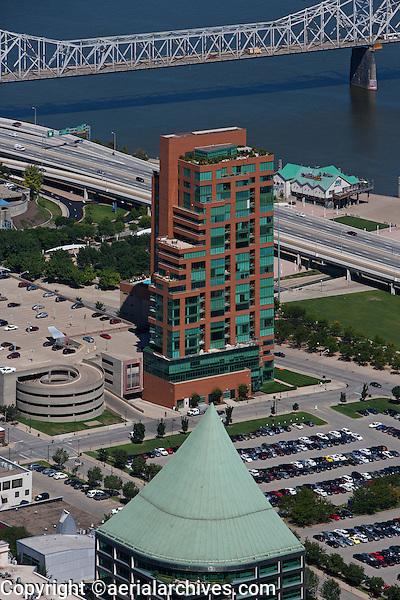aerial photograph Clark Memorial Bridge, residential tower at Ohio river downtown Louisville, Kentucky