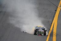Feb 7, 2009; Daytona Beach, FL, USA; ARCA RE/MAX Series driver Larry Hollenbeck (23) after crashing during the Lucas Oil Slick Mist 200 at Daytona International Speedway. Mandatory Credit: Mark J. Rebilas-